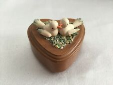 Vintage Wooden Trinket Heart Box with Two White Doves Birds