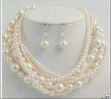 "LONGER 100""7TO12MM PERFECT ROUND SOUTH SEA GENUINE WHITE PEARL NECKLACE EARRING"