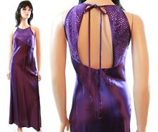 Vintage Cocktail Dress XS Dark Purple Satin Sequin Evening Prom Gown Sleeveless