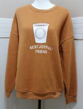 "New K'S MORE Sweatshirt Sz Large Lace Up Back ""Best Joyful' Friend"" Coffee NWT"