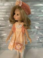 Handmade 5 Piece Cotton Dress, Underskirt, Hat, Purse, Vest Effner/Reina/Darling