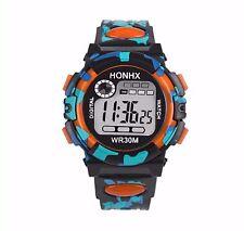 Big Dial Quartz Digital Wrist Watch Alarm Date Wristwatch Chrono Kids BGor --