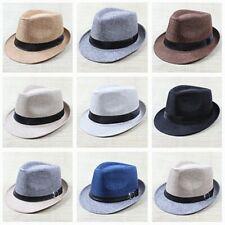 Summer Vintage Fedora Hat Cotton Blend Panama Mens Bowler Hat Cap Jazz Sun US