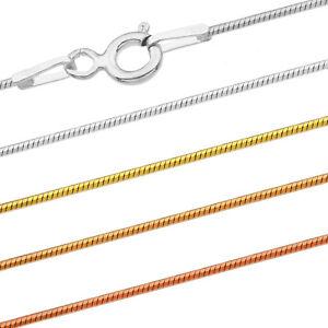 Schlangenkette Silberkette - SS 925 - O - 0.75 mm + 40,45,50,55,60,65,70,75 cm