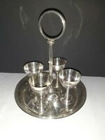 VINTAGE SILVER PLATED HAMO 4 EGG CUPS WITH STAND LOVELY DISPLAY