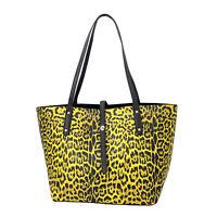 Shop LC Yellow Leopard Pattern Faux Leather Tote Bag Women Handbag Shoulder Bag