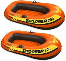 2 Pack Intex 2 Person Explorer 200 Inflatable River Boat Raft for Kids, Adults