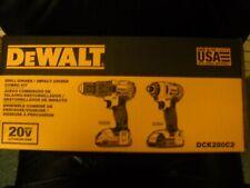 DeWALT DCK280C2 Cordless Drill Impact Driver Kit 20V MAX Li-Ion NEW