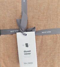 west elm belgian linen melange full/qn duvet No Shams in terracotta