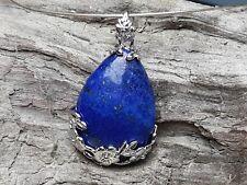 Edelsteinanhänger, Lapis Lazuli Tropfen Blumen Silber 27 mm, Kette, Schmuck