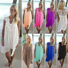 Women's Beach Wear Bikini Cover Up Summer Lace Chiffon Mini Sun Dress Plus Size