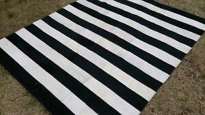 COWHIDE PATCHWORK CARPET AREA RUG Cow hide Black & White 6ft x 4ft Carpet