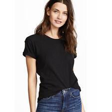 Madewell Whisper Cotton Crew Tee Shirt Top Medium M Women Black Slub Knit Summer