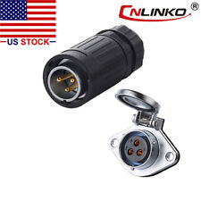 3 Pin Connector Male Plug & Female Socket Outdoor Waterproof IP67 Power Signal