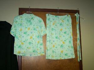 Woman's 3-pc Short-sleeve top blouse Skirt set w/ belt 22½ EUC Green Yellow Blue