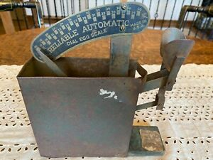 Antique Metal, wood and Brass Reliable Automatic Egg Scale