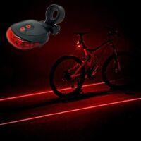 2 Laser 5 LED Cycling Bicycle Bike Safety Warning Flashing Lamp Tail Light