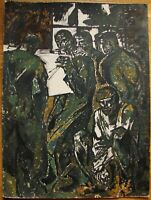 Russian Ukrainian Soviet Oil Painting cubism expressionism workers newspaper