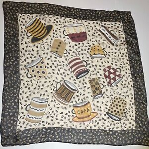 Talbots Silk Scarf Coffee Beans Cafe Cups Mugs Chiffon Sheer 22 Inch Square