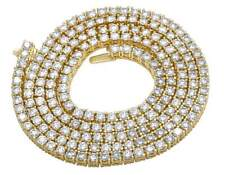10K Yellow Gold Genuine Diamond One Row Tennis Prong Chain Necklace 22.25ct 3MM