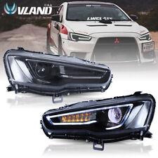 Vland Led Headlights For Mitsubishi Lancer Evo X 08-17 Audi Style Blackout Light (Fits: Mitsubishi)