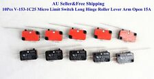 10Pcs V-153-1C25 Micro Limit Switch Long Hinge Roller Lever Arm Open 15A New