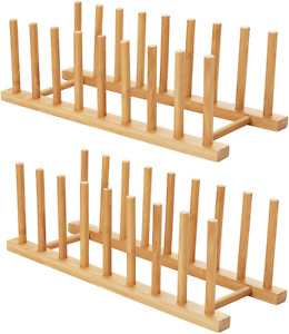 HBlife 2pcs Bamboo Dish Plate Bowl Cup Book Pot Lid Cutting Board Drying Rack St
