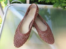 TALBOTS Womens Brown LEATHER Slip On Perforated Flats Shoes, size 7.5 AA