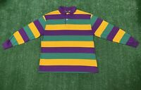 VINTAGE CHESTERFIELD STRIPED POLO RUGBY SHIRT Sz XL Color Block USA Made