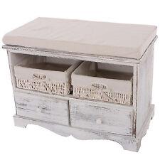 Kommode Sitzbank mit 2 Körben 42x62x33cm, Shabby-Look, Vintage Weiß