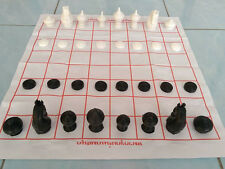 THAILAND CHESS SET MAKRUK THAI TRADITIONAL NEW GAME BALCK & WHITE FREE SHIPPING