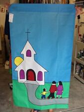 Going to Church / Religious Worship Christian Handmade Large Decorative Flag