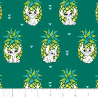 Disney Stitch Pineapple in Evergreen 100% Cotton fabric by the yard