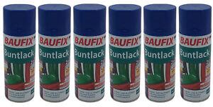 6x Baufix Alkydharz Lackspray marineblau glänzend 400ml Bunt Farbspray Sprühdose