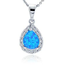 Sterling Silver Lab Created Blue Opal & Cubic Zirconia Teardrop Necklace
