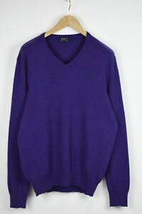 POLO RALPH LAUREN Men's LARGE 100% Merino Wool Purple Melange Sweater 33734_GS