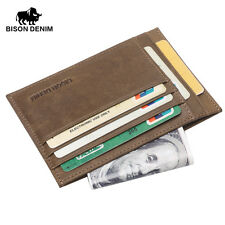 Genuine Leather Credit Card Holder Oyster Pass Note Pocket Mini Wallet