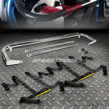 """CHROME 49""""STAINLESS STEEL CHASSIS HARNESS BAR+BLACK 4-PT STRAP BUCKLE SEAT BELT"""