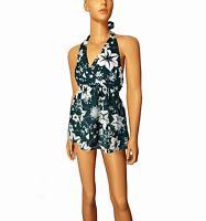 ZERO TUNIKA Bluse Gr S 36 38 Kleid Minikleid Blumen grün weiß BABYDOLL Top K42