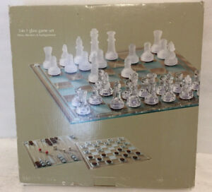 Sonoma 3 in 1 Glass Chess Set & Pieces Checkers & Backgammon Strategy Board Game