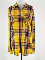 Maurices Women's Yellow Plaid Print Long Sleeve Button-Down Shirt Size Medium