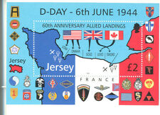 Jersey-Día D 60th aniversario Min hoja estampillada sin montar o nunca montada-militar