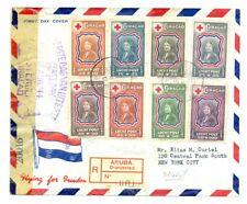 CURACAO -1944 REG CV = ARUBA = CENSOR = TO NEW YORK - RED CROSS - F/VF