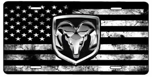 AmericanFlag Black And White Dodge Ram Aluminium License Plate Highest Quality