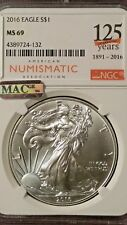 2016 SILVER EAGLE $1 NGC MS 69!!! ANA 125TH ANNIVERSARY LABEL!!! MAC CERTIFIED!!