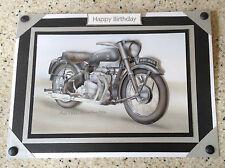 A5 fatto a mano Happy Birthday Card 3d DECOUPAGE vintage moto Ariel Square Four