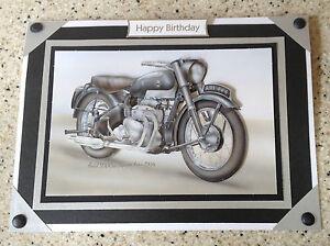 A5 Handmade Happy Birthday card 3D decoupage Vintage Motorbike Ariel Square Four