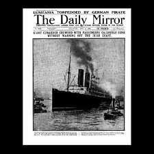 Miniatura Dollshouse GIORNALE-Daily Mirror - 1915 AFFONDAMENTO DEL LUSITANIA