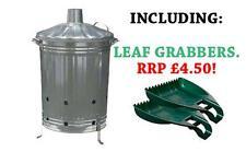 90 LITRE GARDEN INCINERATOR Burner For Burning Rubbish Waste 90L + LEAF GRABBERS