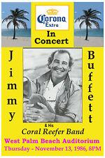 1980's Parrot Head: Jimmy Buffett at West Palm Beach Concert Poster 1986 12x18
